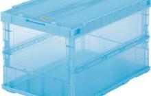 [TRUSCO] 薄型 折りたたみコンテナ スケル 50Lロックフタ付 ブルー